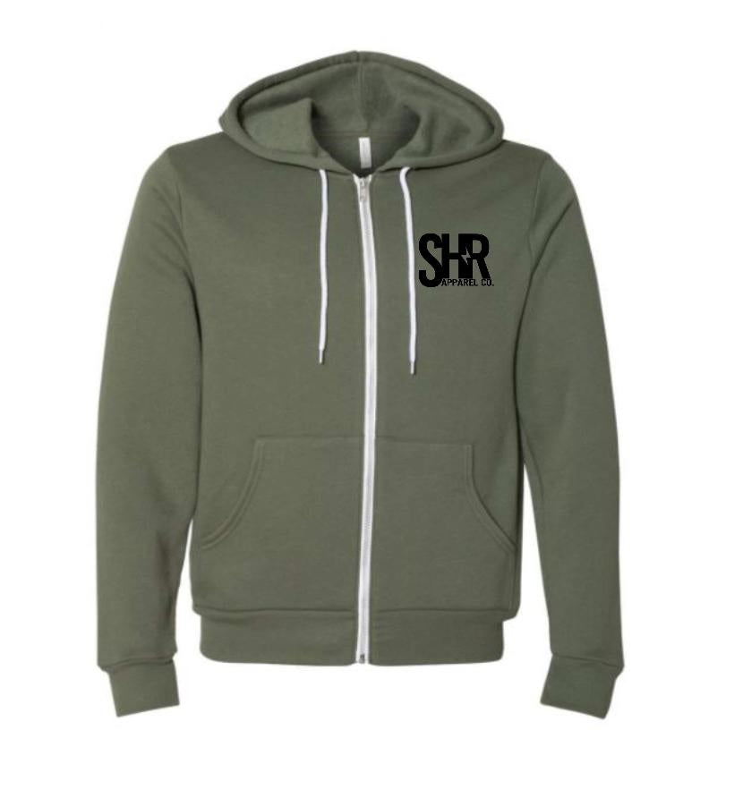 SHR Pocket Logo Zip-up Hoodie - Military