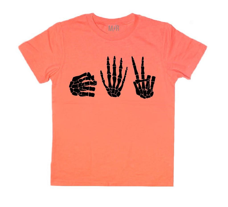 Rock Paper Scissors Skeleton Kids Tee