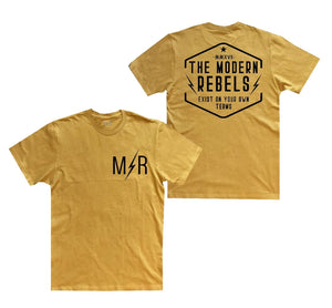 "The Modern Rebels ""Exist on your own terms"" Men's T-Shirt - Mustard"