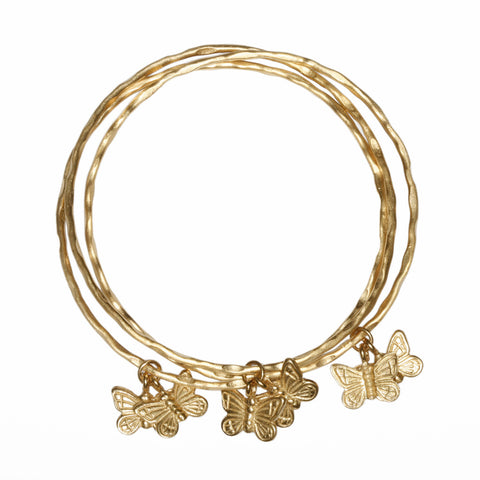 3 Bangles interlinked with butterflies GOLD PLATED