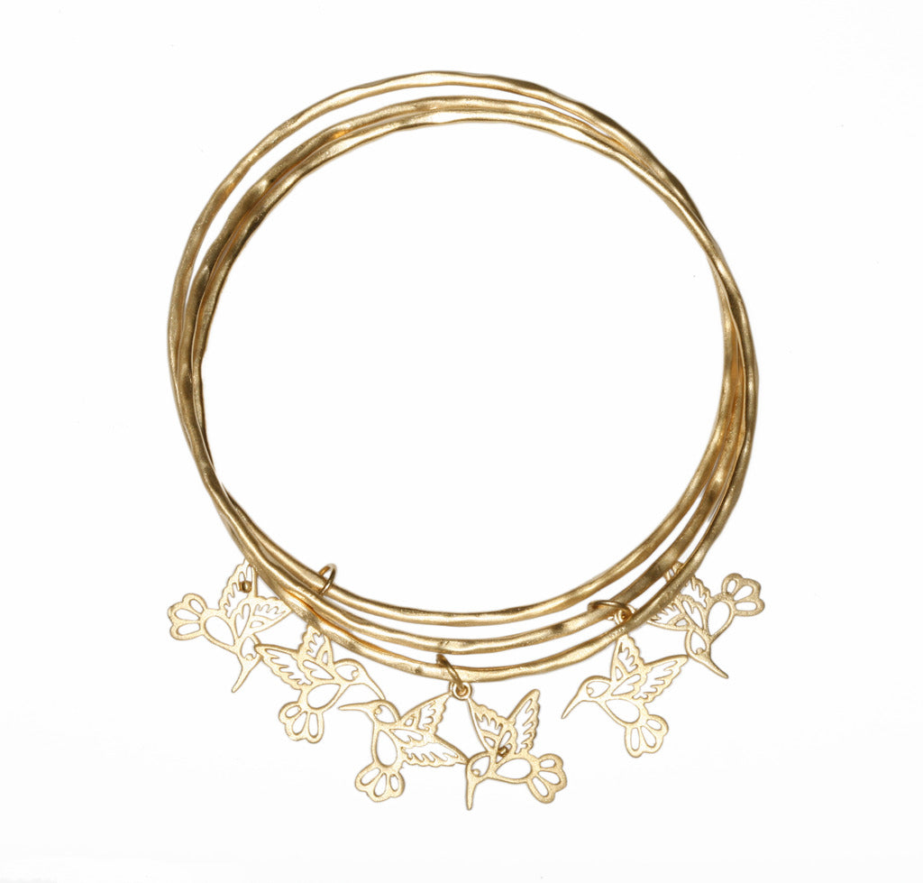 3 Bangles with Hummingbirds GOLD PLATE