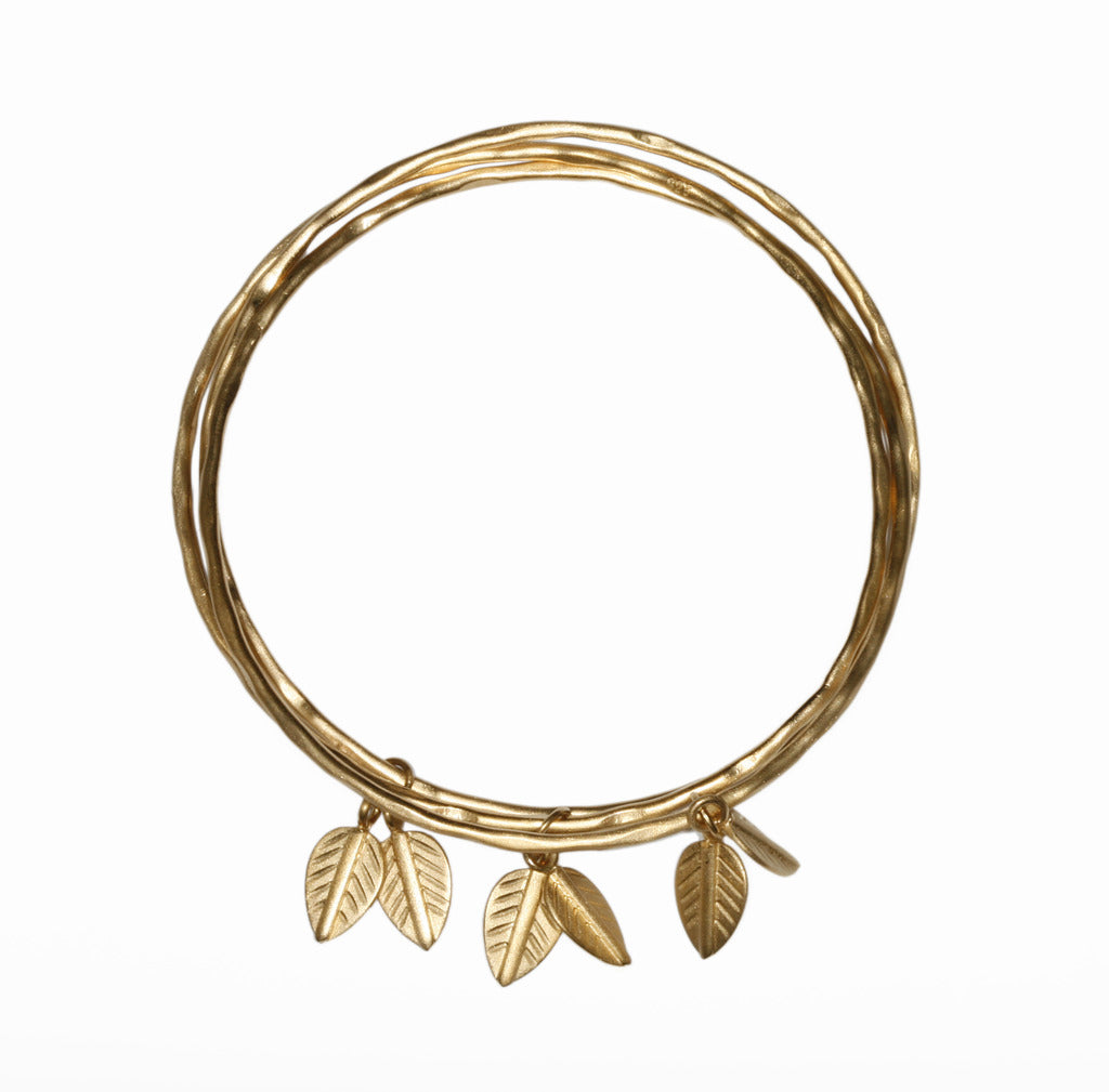 3 Bangles with logo leaves
