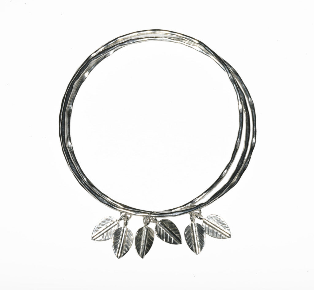 3 Bangles interlinked with Logo Leaves SILVER