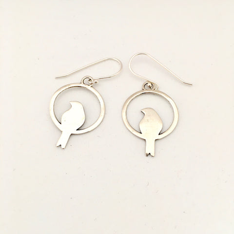 Bird Earrings - Silver