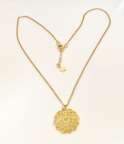 Circles Round Disc Necklace Pendant - Gold Plate