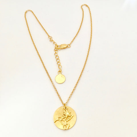 Disc with humming bird charm and small star Necklace - Gold Plated