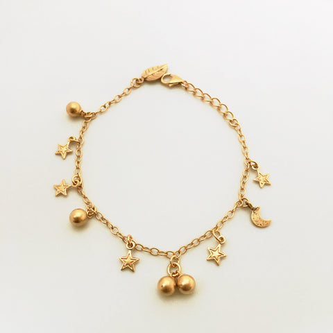 Stars and balls delicate gold plated charm bracelet