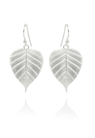 Banyan Tree Leaf Earring Silver