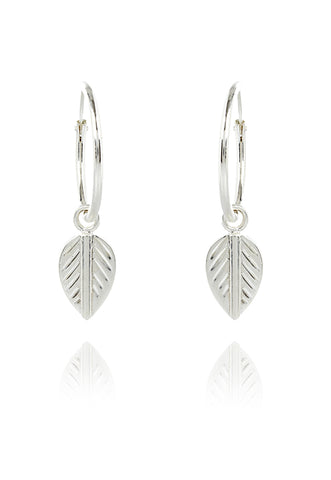 Silver Logo Leaf Single Hoop Earring EXCLUSIVE TO VINNIE DAY