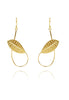 Long Twisted Rabbit Ear Leaf Earring in Gold Plate