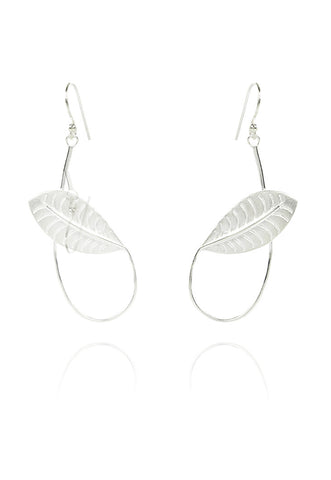 Long Twisted Rabbit Ear Leaf Earring in Silver