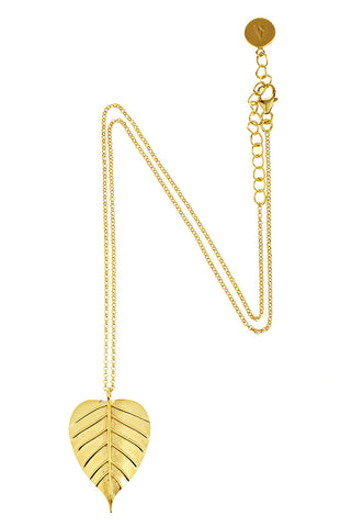 Banyan Tree Leaf Necklace in Gold Plate
