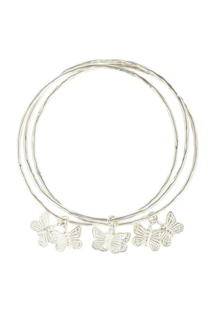 3 Bangles with butterflies SILVER