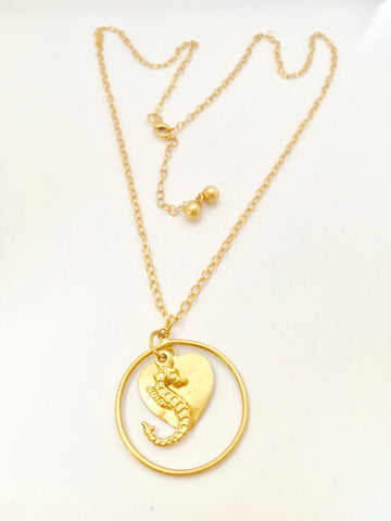 Long Chain Necklace with 3.5cm diameter Hoop with Seahorse and heart disc - Gold Plated