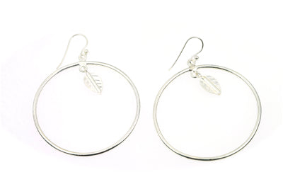 Single Hoop Leaf Earring silver