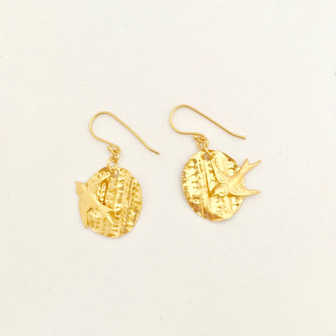 Petal Disc with Swallow Earring - Gold Plated