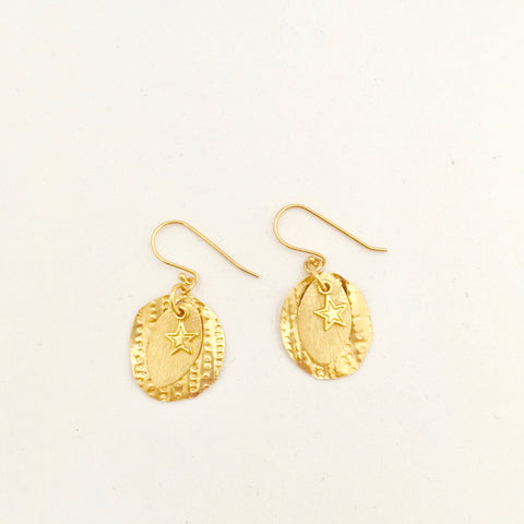 Petal, disc, star charm Earring - Gold Plated