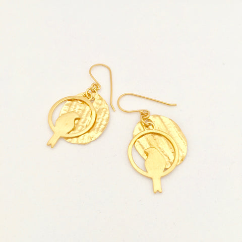 Petal disc with dove bird Earring - Gold Plated