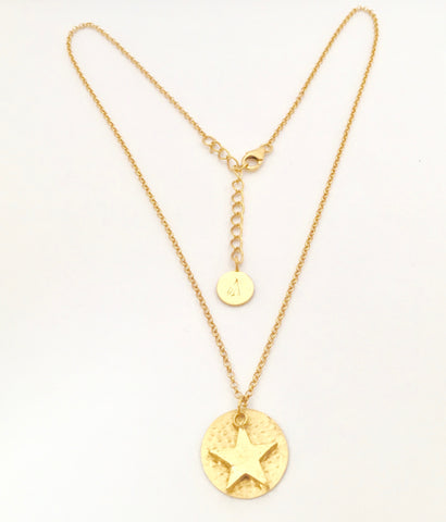 Planetary Disc with matching star Necklace - Gold Plated