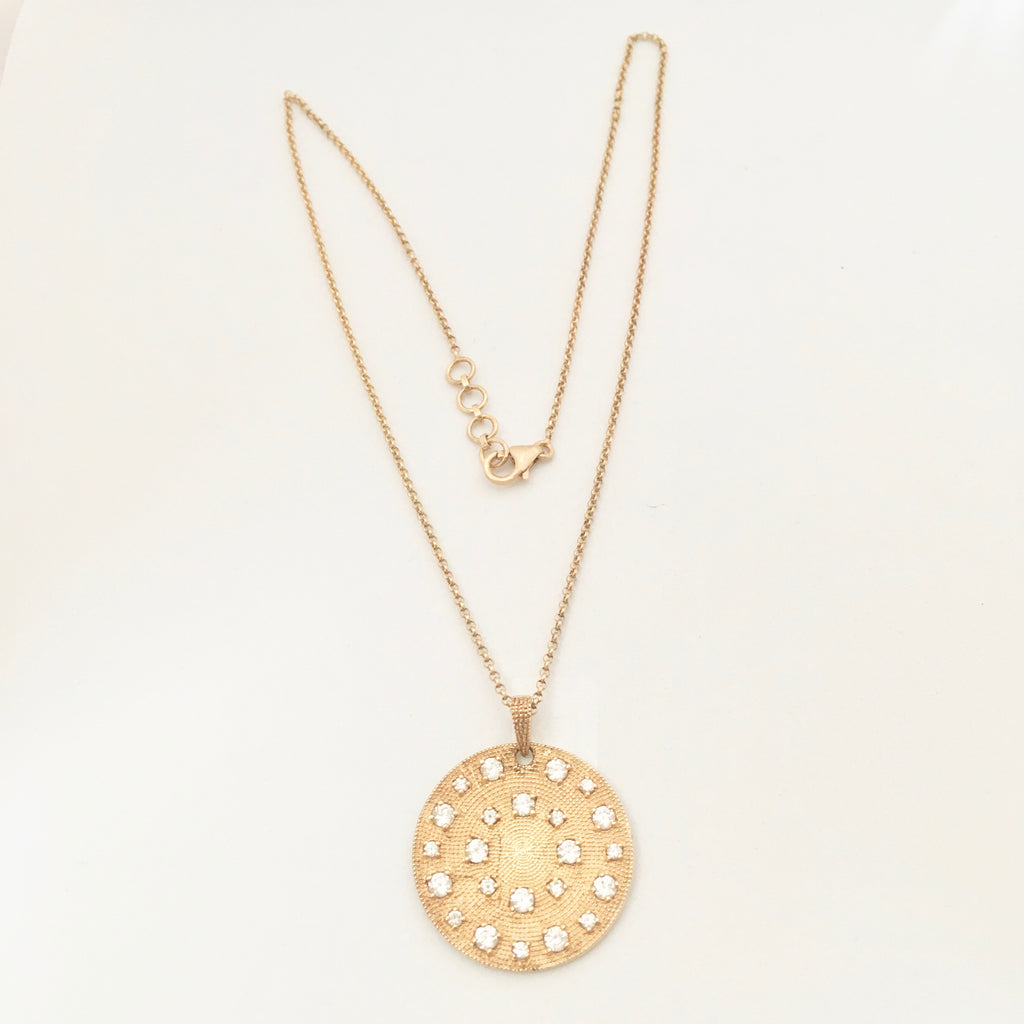 Zirconian diamante disc Necklace - Gold Plated