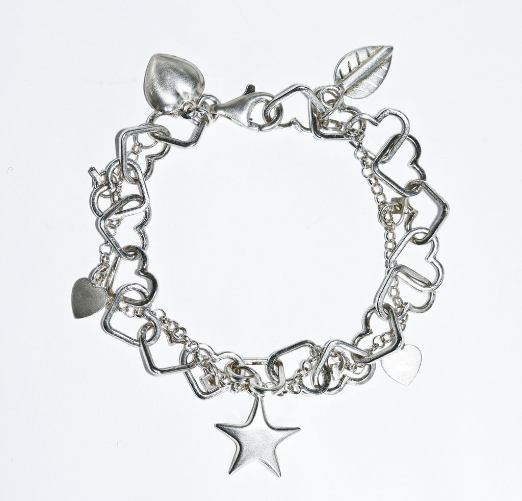 Heart Charm Bracelet With Charms Silver