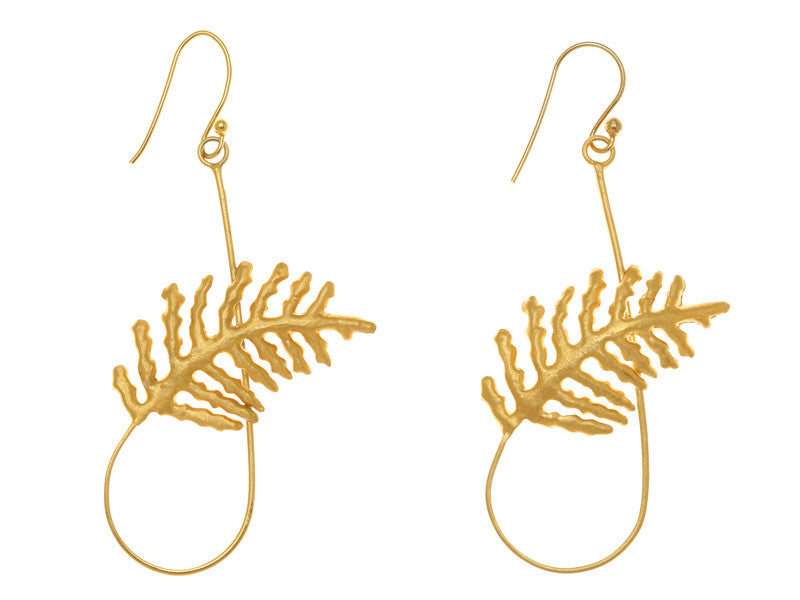 Coconut Leaf Earrings GOLD PLATED