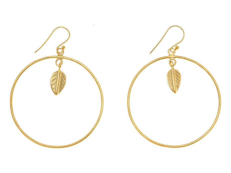 Single Leaf Hoop Earring in gold plate