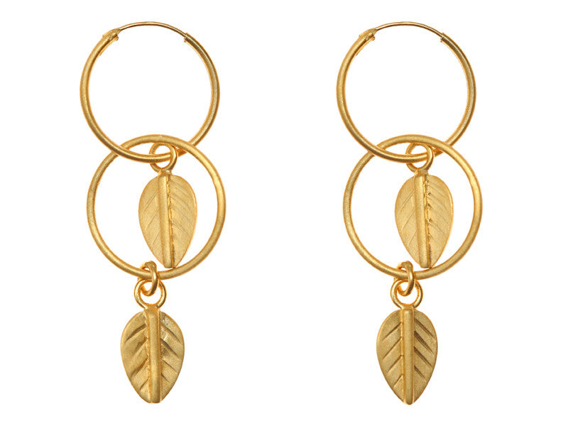 Gold Plated Double Hoop Leaf Earrings EXCLUSIVE TO VINNIE DAY.COM
