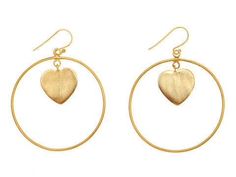 Heart Disc Earring Gold Plate EXCLUSIVE TO VINNIE DAY AS SEEN WORN BY PIPPA MIDDLETON