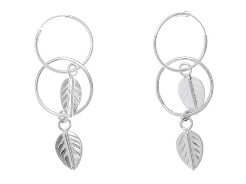 Silver Double Leaf Earring SILVER