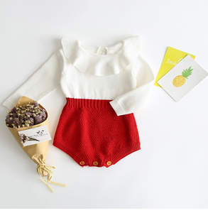 Chic Knitted Romper (2 Colors) Red / 24 Mo