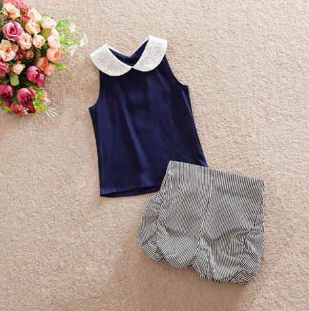 Chiffon Blouse Stripes Shorts Outfit Dark Blue / 12 Mo Set