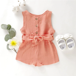 Button Up Bow Romper Orange / 3 Mo
