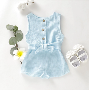 Button Up Bow Romper Sky Blue / 3 Mo