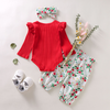 Red Floral Poppy Outfit - Bitsy Bug Boutique