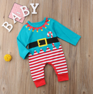 Candy Cane Christmas Elf Romper