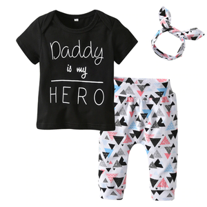 Daddy is my Hero T-Shirt Pants Headband Outfit