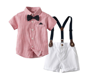 Gentleman Bow Tie Short Sleeve Shorts Outfit (Multiple Colors)