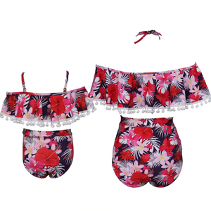 High Waist Floral Off Shoulder Mommy and Me 2 Piece Swimsuit