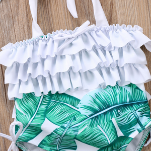 Ruffle Halter Top Swimsuit with Swim Hat