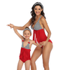 Red Ruffle Matching Swimsuits