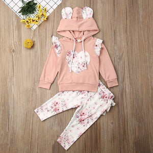 Floral Hoodie Heart Outfit