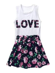 Love Tank Top + Floral Skirt