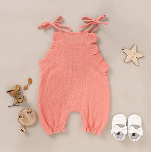 Solid Shoulder Tie Romper