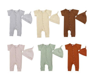 Short Sleeve Ribbed Onesie with Hat