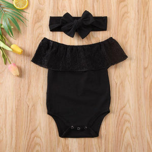 Off Shoulder Lace Onesie with Bow