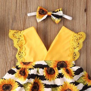Striped Sunflower Romper Dress with Headband