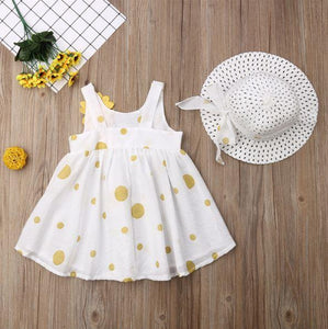 Polka Dot Floral Sleeveless Dress Sunhat Outfit (2 Colors)