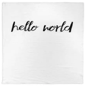 Modern Burlap - Organic Cotton Muslin Swaddle Blanket - Hello World - Bitsy Bug Boutique