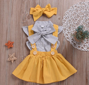 Polka Dot Top Yellow Skirt Outfit - Bitsy Bug Boutique